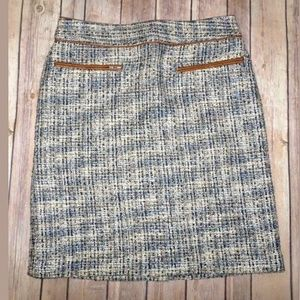 Ann Taylor Blue Tweed Pencil Skirt Size 2